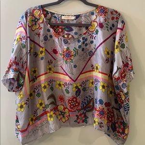 Johnny Was Floral Silk Print Top